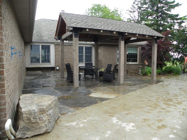 Stone patio with Gazebo & Kitchen