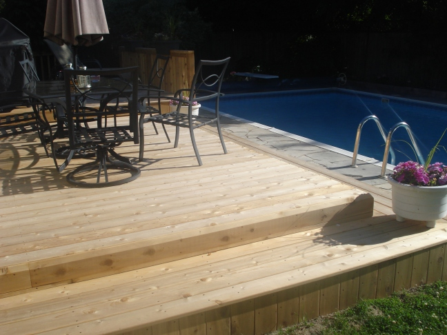 Cedar deck with clear stain