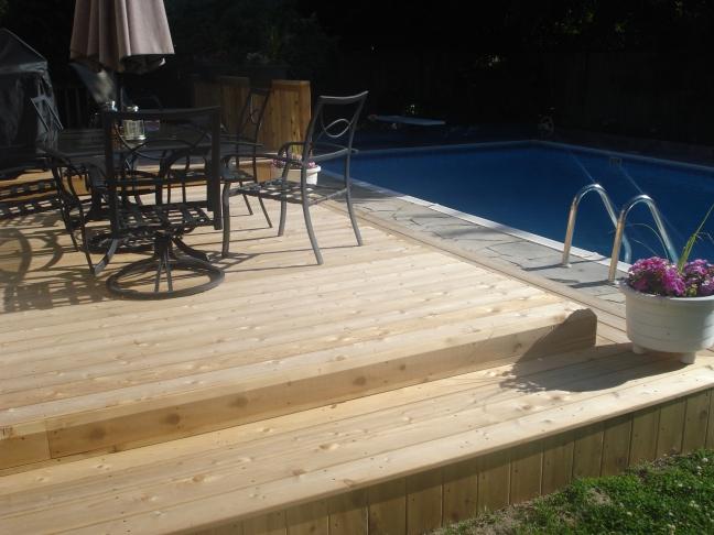 Cedar deck with clear stain
