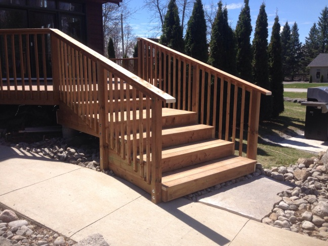 Brown pressure treated stairs